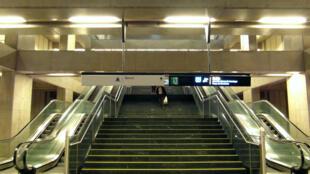 Greve dos funcionários no metrô de Lisboa, Estação Terreiro do Paço.