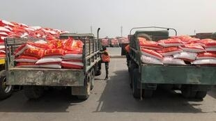Au Sénégal, des sacs de riz chargés sur des camions dans le port de Dakar sont prêts à être distribués aux populations les plus vulnérables du pays, en pleine crise du Covid-19. Dakar, le 11 avril 2020.
