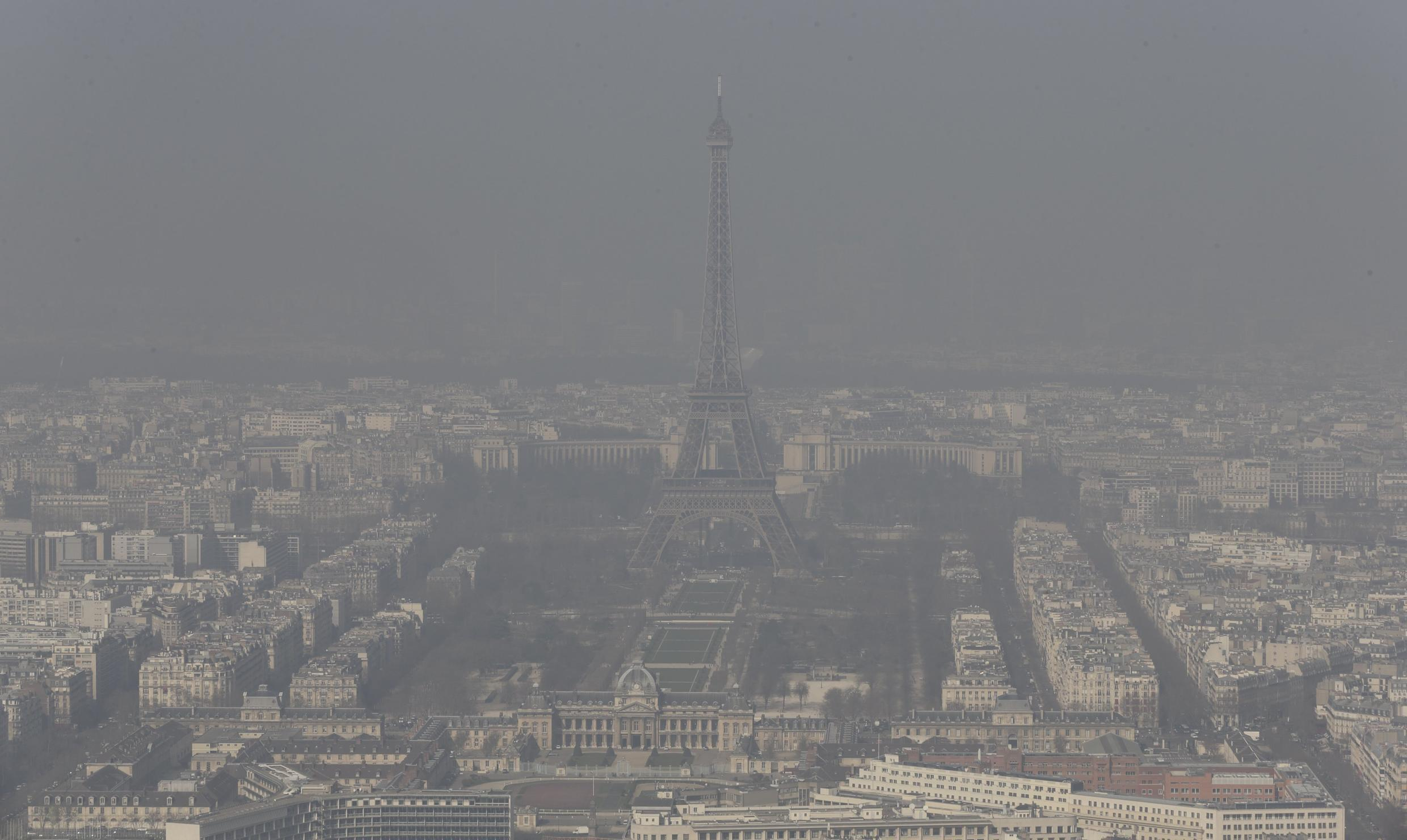 The Eiffel tower and the Paris skyline through a small-particle haze, 13 March 2014.