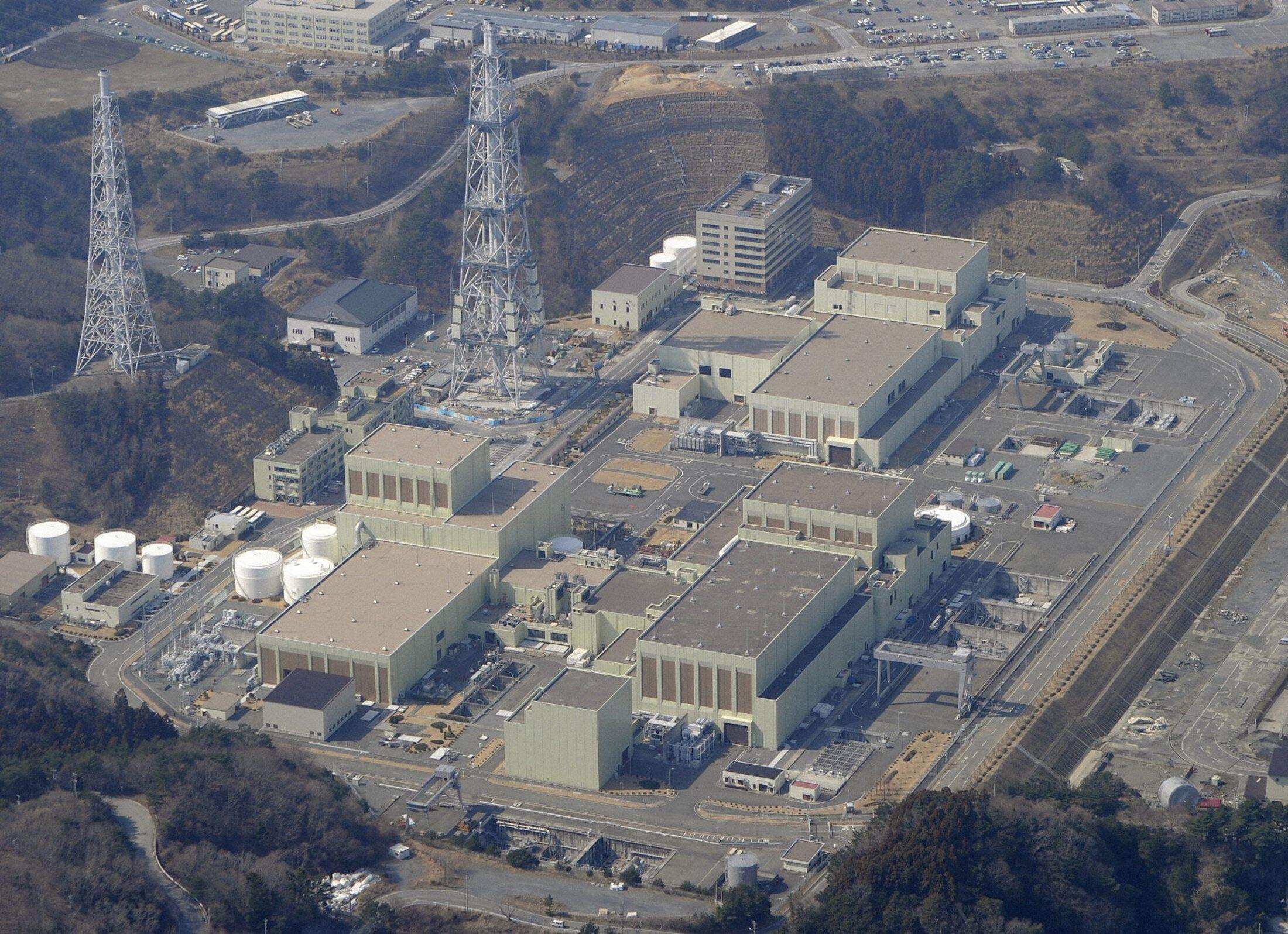 Vista aérea da central nuclear de Onagawa, no Japão.