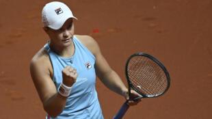 Ashleigh Barty celebrates her quarter-final win over Karolina Pliskova at the WTA tournament in Stuttgart on Friday