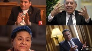El presidente de Ecuador Rafael Correa, los premios Nobel Mario Vargas Llosa y Rigoberta Menchú, el presidente electo de Guatemala Jimmy Morales.