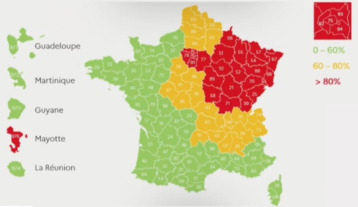 Map showing regions where hospitals have sufficient (green) or few (orange) ventilators or other IC equipment to deal with patients infected with the coronavirus, while hospitals in regions coloured red have difficulty to cope.