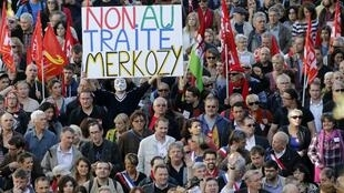 Sunday's demonstration against the European fiscal pact