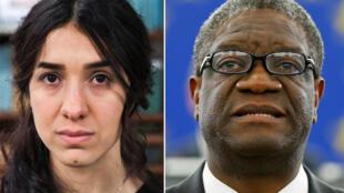 图为2018年诺贝尔和平奖得奖人诺贝尔和平奖得主穆拉德(Nadia Murad)与穆克维格(Denis Mukwege)