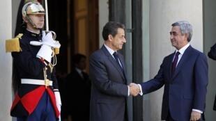 Le président français reçoit son homologue arménien, Serge Sarkissian, le 28 septembre 2011 à l'Elysée.
