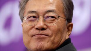 Le président sud-coréen, Moon Jae-in, le 17 février 2018 pour les Jeux olympiques d'hiver de PyeongChang.