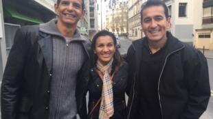 Milton Bittencourt (à esq.), Keytiane Mendes Souza e Geniomar Pereira vieram pela primeira vez disputar a maratona de Paris.