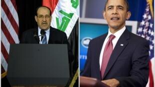 O premiê iraquiano (à esquerda) é recebido por Obama pela terceira vez desde sua eleição, em maio de 2006.