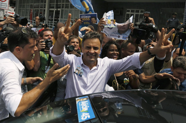 Au Brésil, Aecio Neves du Parti social-démocrate brésilien (PSDB) est crédité de 20% des suffrages pour le premier tour de la présidentielle, le 5 octobre 2014.