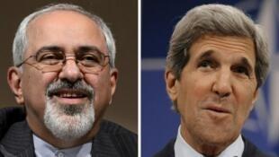 Los cancilleres Javad Zarif y John Kerry, artífices del acuerdo histórico que pone fin a diez años de sanciones económicas impuestas por Washington y la Unión Europea a Irán.