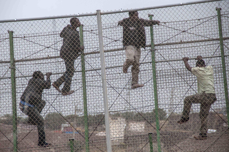 Des migrants tentent le passage dans l'enclave espagnole de Melilla, en territoire marocain, le 17 mai 2014.