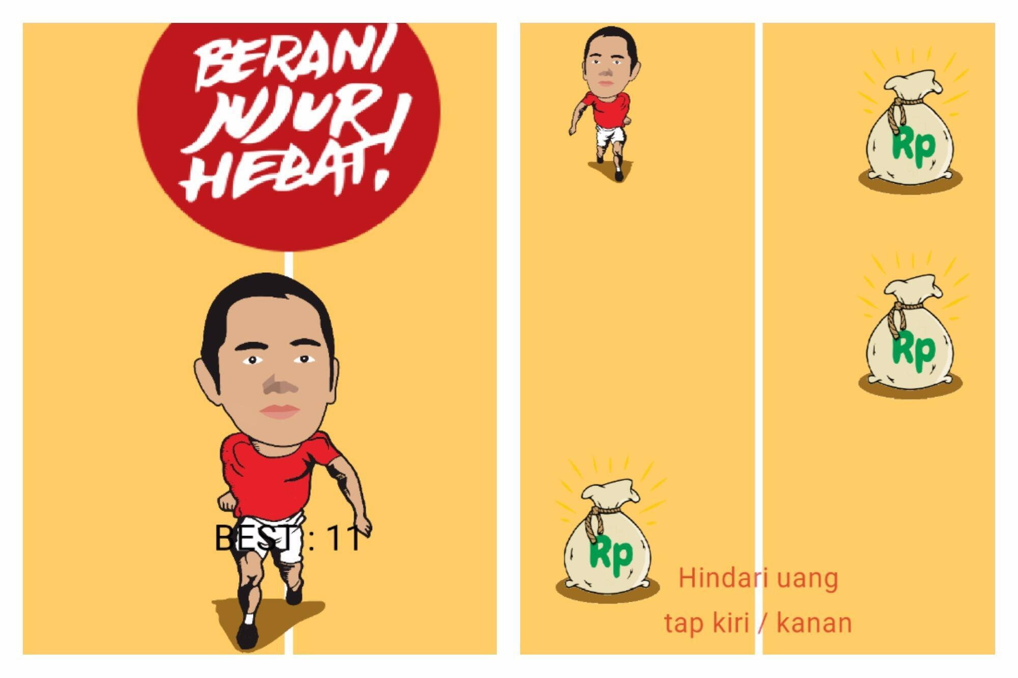 L'application AntiKorupsi vous propose d'incarner le gouverneur de Semarang dans une course d'obstacles où il doit esquiver les sacs d'argent.
