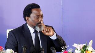 Le président congolais, Joseph Kabila, lors d'une conférence de presse, le 26 janvier 2018, à Kinshasa.