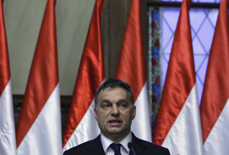 Le Premier ministre hongrois Viktor Orban, lors d'une conférence de presse à Budapest, le 20 janvier 2012.