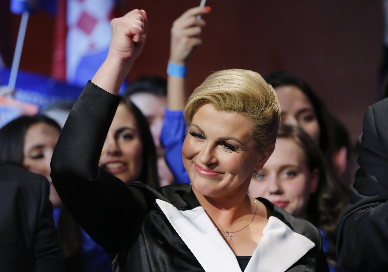 Kolinda Grabar-Kitarovic, après l'annonce de sa victoire à la présidentielle.