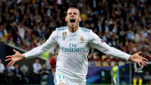 Gareth Bale, le 26 mai 2018, après avoir marqué son premier but lors de la finale de la Ligue des champions entre le Real Madrid et le FC Liverpool.