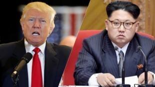 Tổng thống Mỹ Donald Trump (T) và lãnh tụ Bắc Triều Tiên Kim Jong Un. Ảnh minh họa