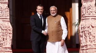 Narendra Modi a reçu Emmanuel Macron à New Delhi en mars 2018.