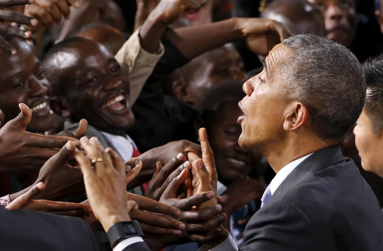 Le président américain lors de son allocution dans le stade de Nairobi, le 26 juin 2015.