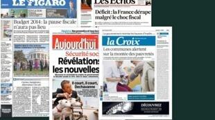 Capa dos jornais franceses Le Figaro, Les Echos, Aujourd'hui en France e La Croix desta quinta-feira, 12 de setembro de 2013