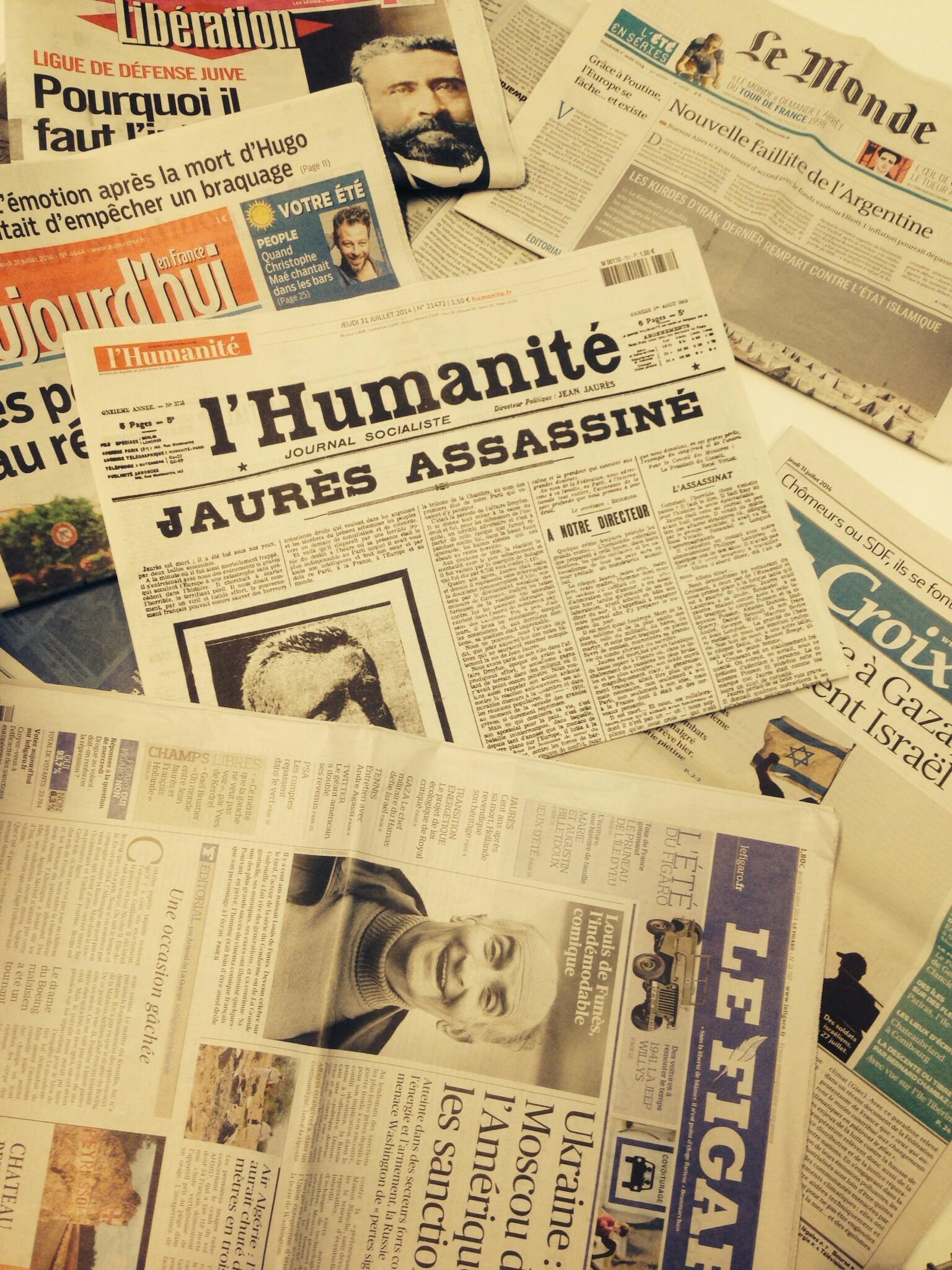 Primeiras páginas diários franceses 31/07/2014