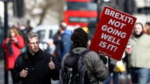 一位反脫歐的民眾在英國議會前舉牌抗議,2019年3月14日。