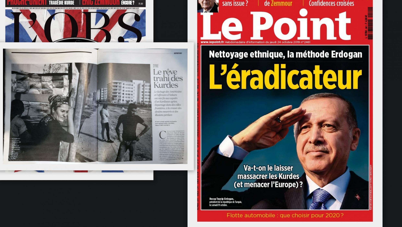 As revistas Le Point e L'Obs dedicam extensas reportagens à situação dos curdos no Oriente Médio.