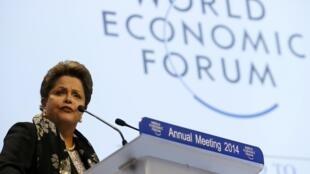 A presidente Dilma Rousseff discursa no Fórum Econômico Mundial de Davos.