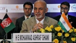 Afghanistan's President Ashraf Ghani attends a business meeting in New Delhi on 29 April 2015
