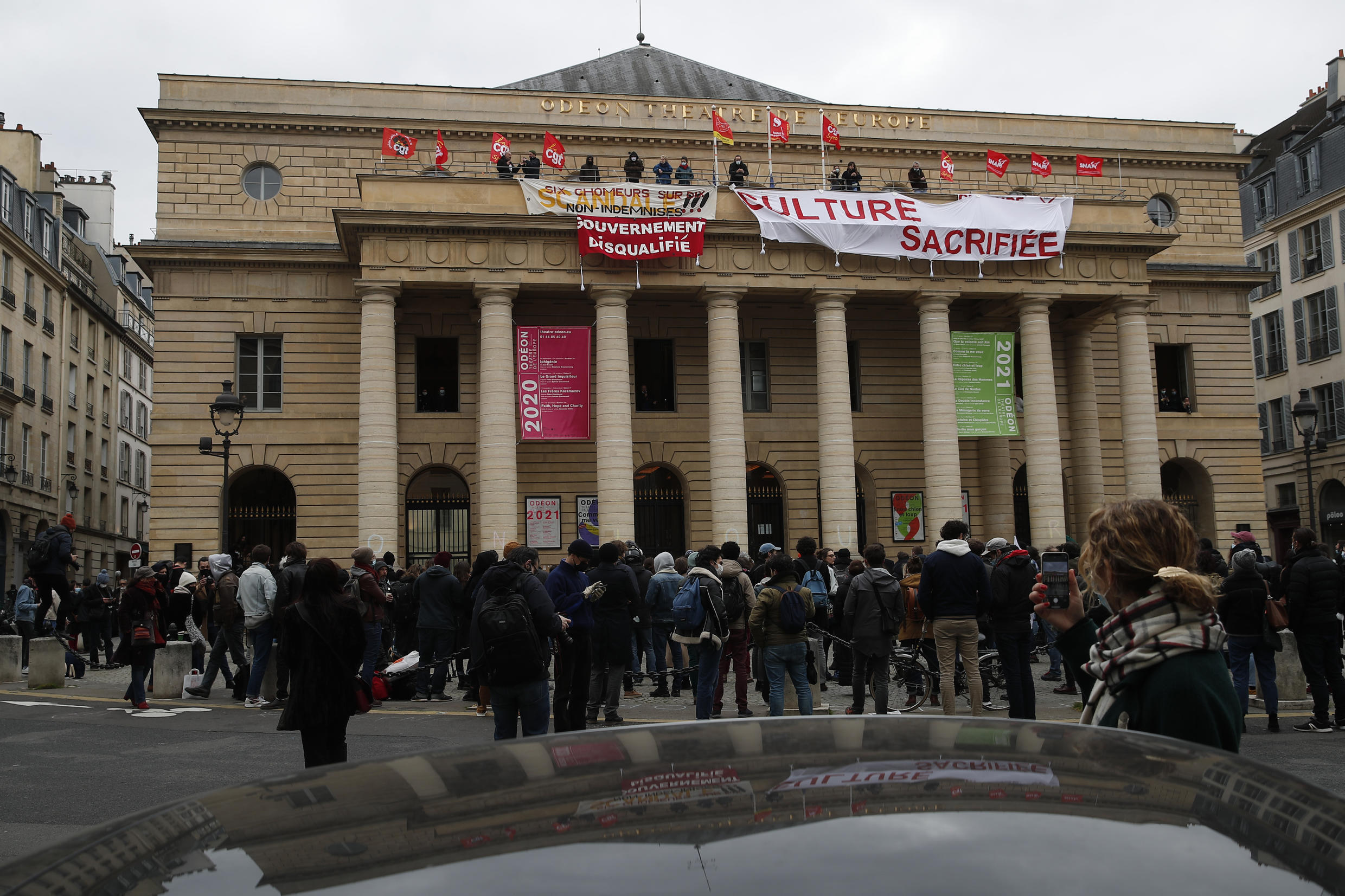 French culture and tourism workers occupied the iconic Odeon theater_4 March 2021_AP_Francois Mori