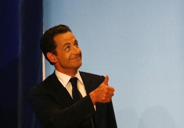 Nicolas Sarkozy au soir de sa victoire, à Paris, le dimanche 6 mai 2007.