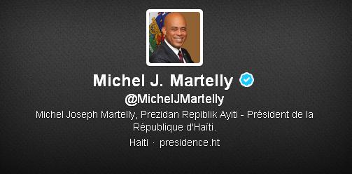 Le compte Twitter officiel du président de la République d'Haïti.