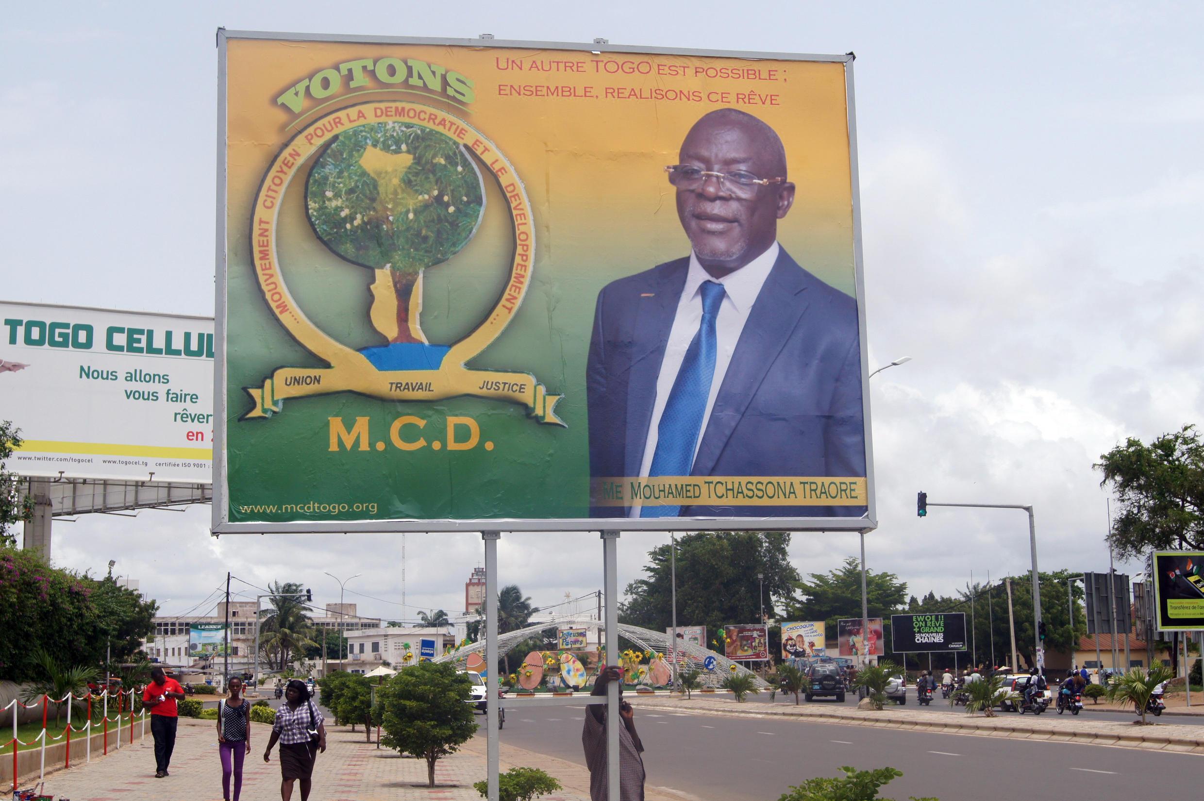 Affiche de campagne d'un candidat à la présidentielle au Togo.