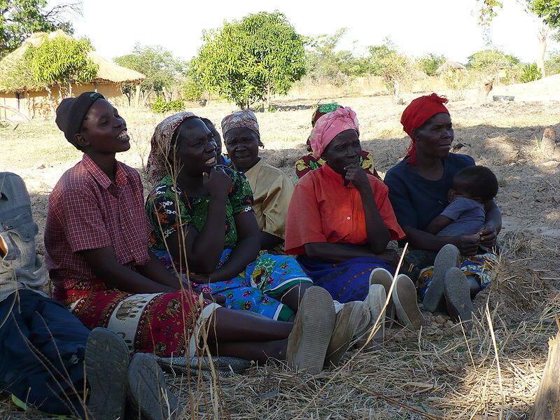 Women in a village in Zambia