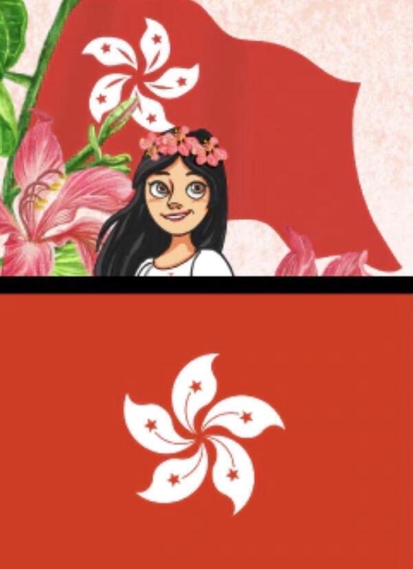新华社插图摆乌龙,香港区徽的洋紫荆图案应该是下面一副,然而新华社的插图却明显倒转了花瓣尖。2020年7月3日。