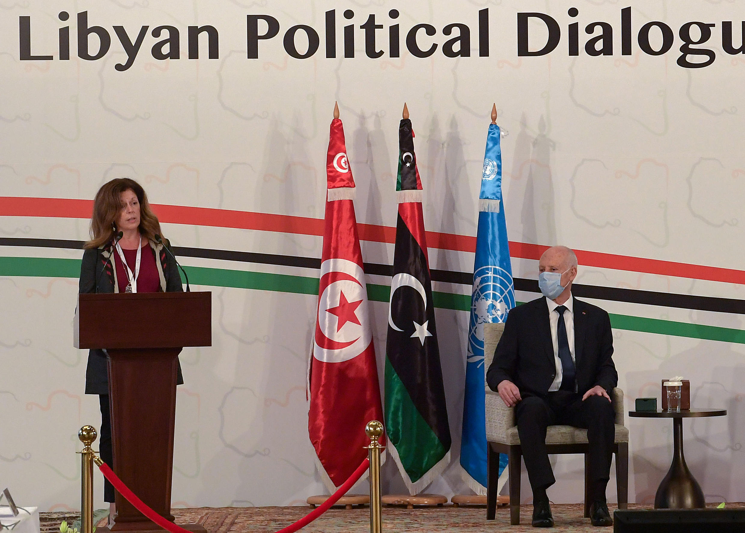 UN acting envoy to Libya Stephanie Williams speaks at the opening of the Libyan Political Dialogue Forum hosted in Gammarth on the outskirts of the Tunisian capital