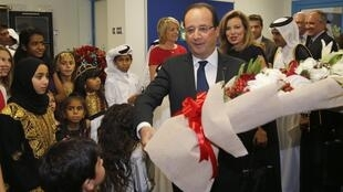François Hollande, au lycée franco-qatarien de Doha, au Qatar, ce samedi 22 juin.