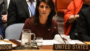 Đại sứ Mỹ Nikki Haley trong phiên họp tại Đại Hội Đồng Liên Hiệp Quốc ở New York ngày 21/09/2017.