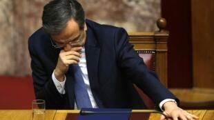 Le Premier ministre grec Antonis Samaras, peu après le vote, le lundi 29 décembre à Athènes.