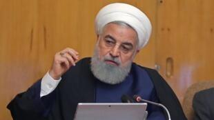 Hassan Rohani Shugaban kasar Iran a lokacin da yake jawabin sa dangane da halin da yankin yake ciki