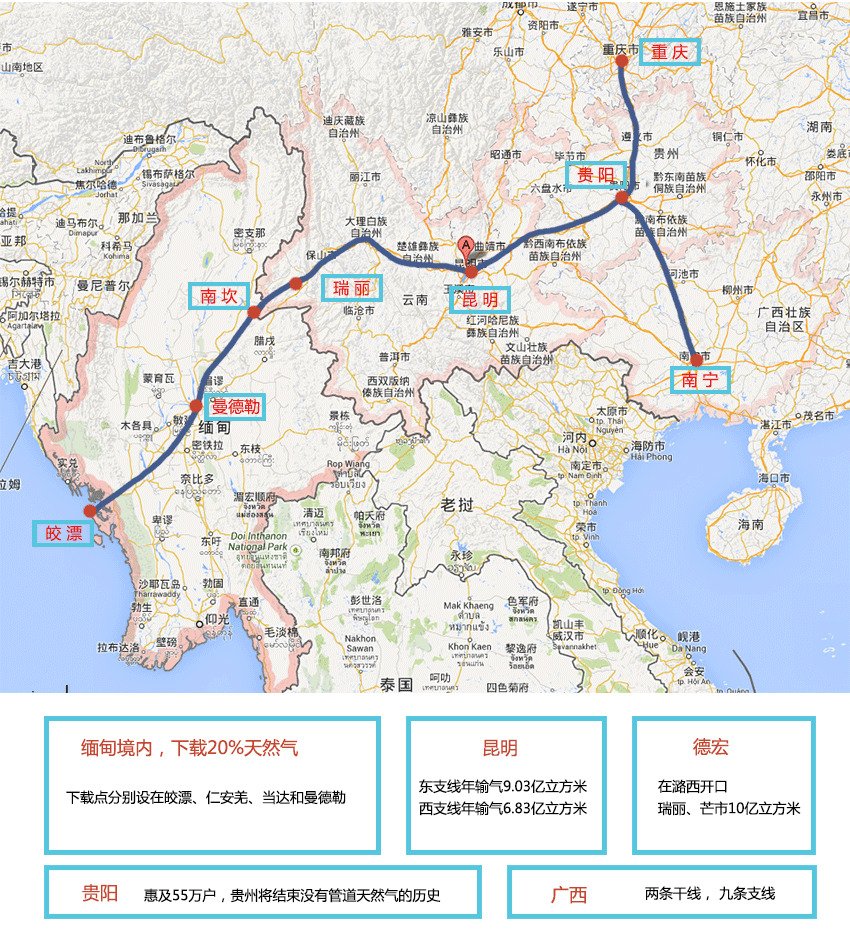 中緬輸油管道建成於2015年,於2017年4月10日正式運行。
