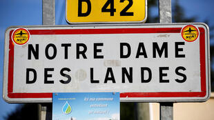 A road sign at the entrance of the Notre-Dame-des-Landes village, western France