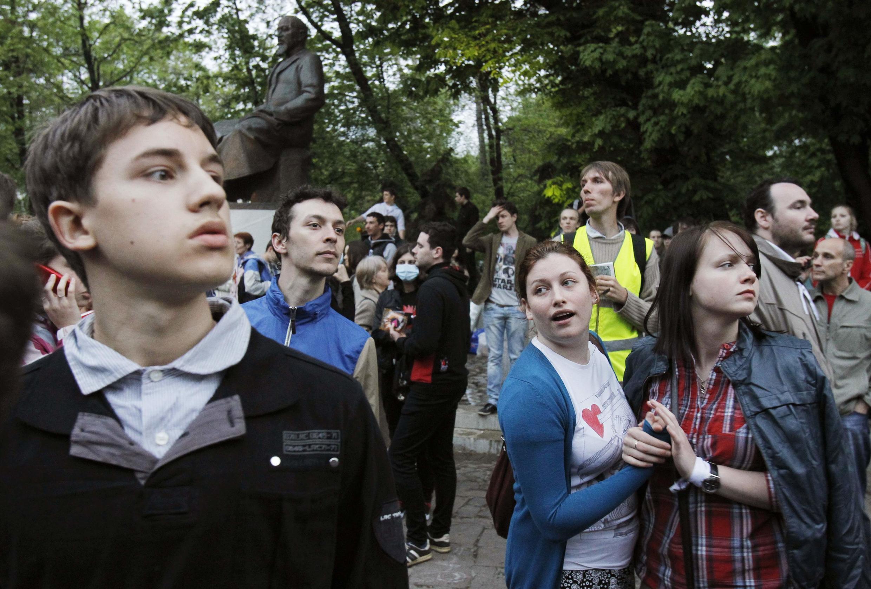Manifestation d'opposants à Poutine dans le centre de Moscou, mercredi 9 mai 2012.