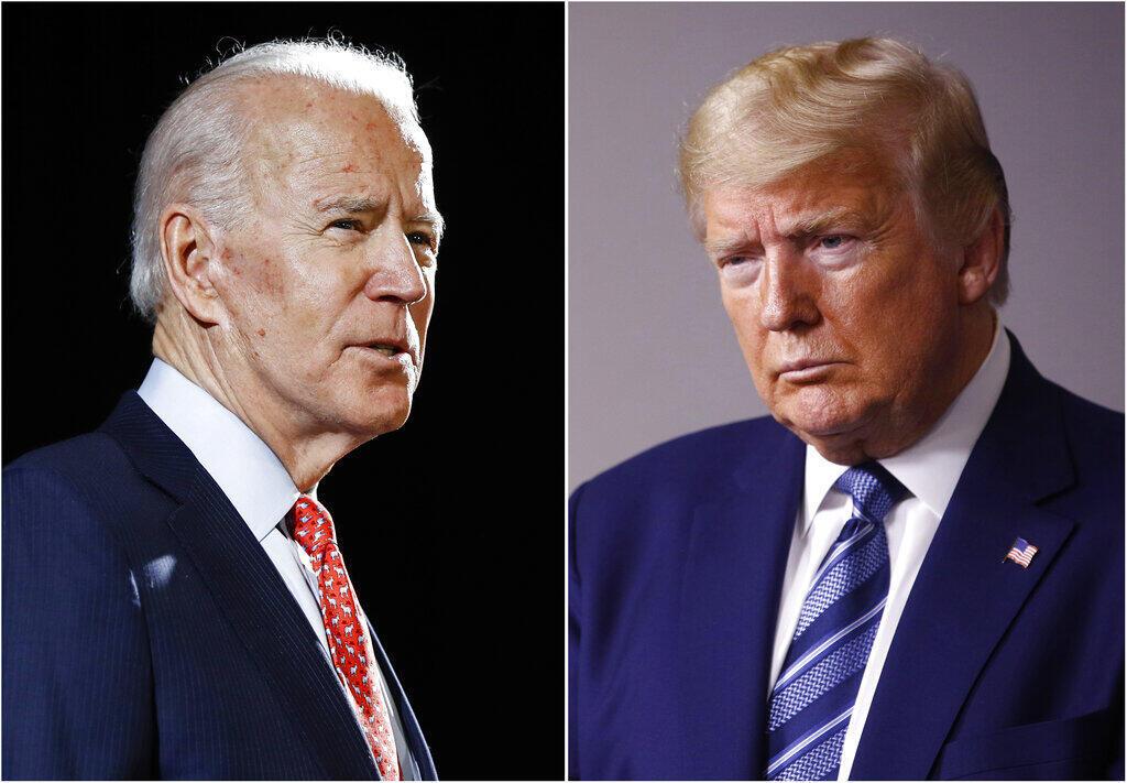 Joe Biden (à esquerda) e Donald Trump (à direita).