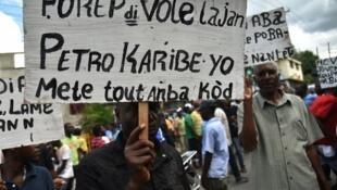 Manifestation à Port-au-Prince en marge du scandale Petrocaribe, en 2017.