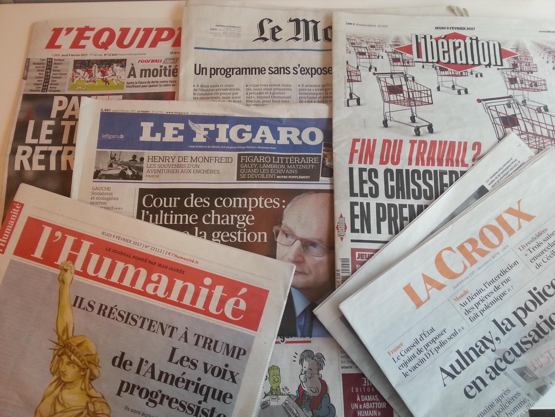 Primeiras páginas dos jornais franceses de 9 de fevereiro de 2017