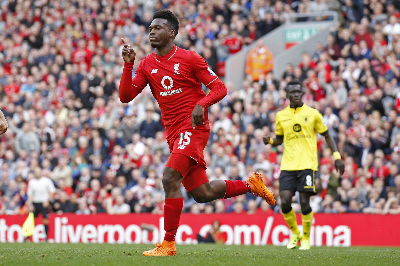 Liverpool's Daniel Sturridge celebrates scoring their third goal