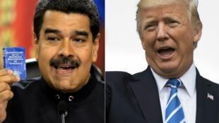 委內瑞拉總統馬杜羅和美國總統特朗普資料圖片