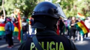Manifestation contre le président Morales devant le siège du Tribunal suprême électoral à La Paz, le 3 novembre 2019.